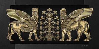 Digital Art - Gold Assyrian Winged Lion And Winged Bull - Lumasi With Tree Of Life Over Black Canvas by Serge Averbukh