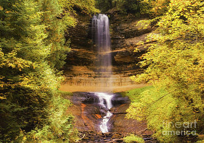 Photograph - Gold At Munising Falls by Rachel Cohen