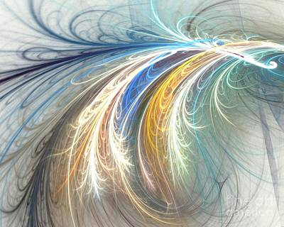 Digital Art - Gold Blue Tendrils by Kim Sy Ok