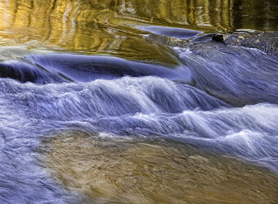 Photograph - Gold-blue Water Reflections by Ken Barrett