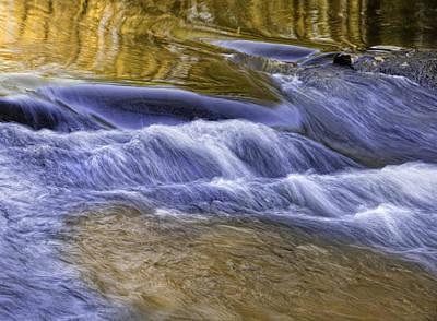 Photograph - Gold-blue Water Reflections by Ken Barrett