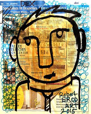 Urban Subway Painting - Gold Boy Draftsmen by Robert R Splashy Art Abstract Paintings