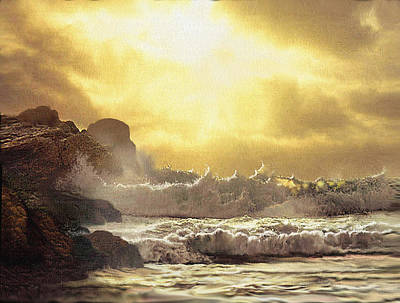Oceanscape Painting - Gold Breakers by Robert Foster