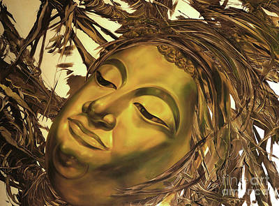 Painting - Gold Buddha Head by Chonkhet Phanwichien