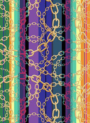 Digital Art - Gold Chains V1 by Xrista Stavrou
