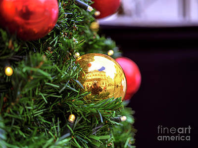 Photograph - Gold Christmas Ball Prague by John Rizzuto