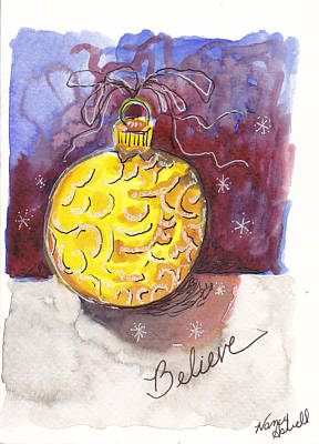 Gold Christmas Ornament Original by Michele Hollister - for Nancy Asbell