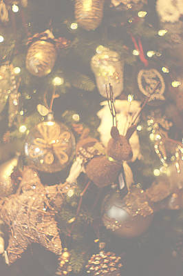 Photograph - Gold Christmas Tree Decorations by Suzanne Powers