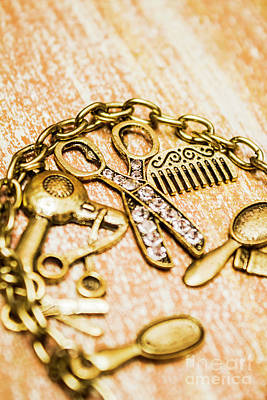 Bracelet Photograph - Gold Class Hair Styling Background by Jorgo Photography - Wall Art Gallery