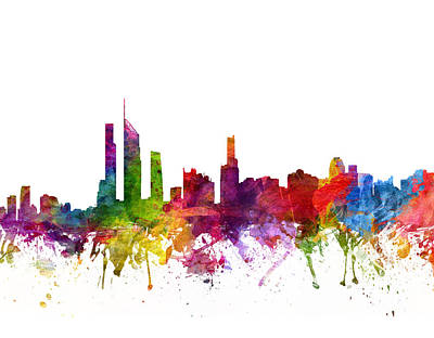 Skylines Drawings - Gold Coast Australia Cityscape 06 by Aged Pixel