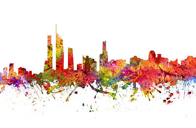 Skylines Drawings - Gold Coast Australia Cityscape 08 by Aged Pixel
