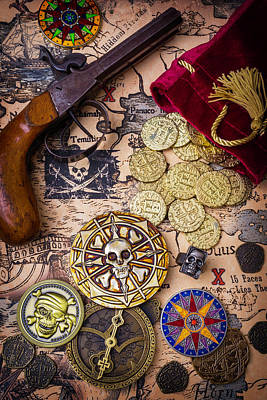 Gold Coins On Pirate Map Art Print by Garry Gay