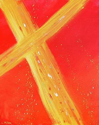 Gold Cross Original by Linda Miller