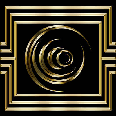Digital Art - Gold Deco 2 - Chuck Staley by Chuck Staley