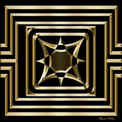 Digital Art - Gold Deco 3 - Chuck Staley by Chuck Staley