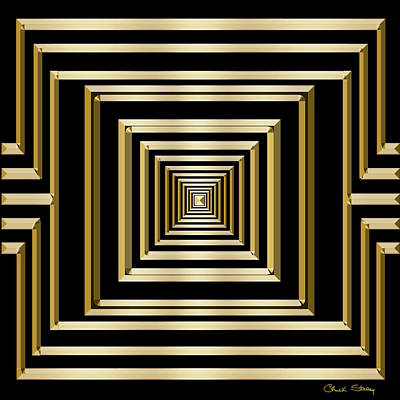 Digital Art - Gold Deco 7 - Chuck Staley by Chuck Staley