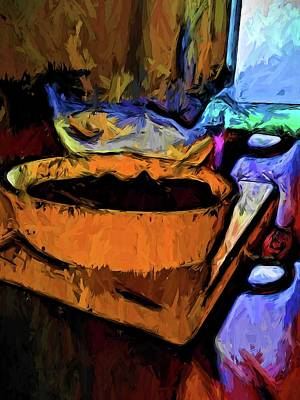 Digital Art - Gold Dish With Chocolate In The Shadow Of A Glass Bowl by Jackie VanO