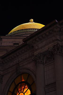 Art Print featuring the photograph Gold Dome At Night by Don Nieman
