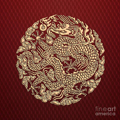 Kung Fu Drawing - Gold Dragon Shen Long Kung Fu Clan by Three Second