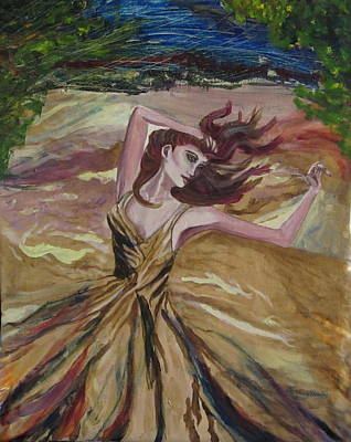 Gold Dress In The Wind Art Print by Penfield Hondros
