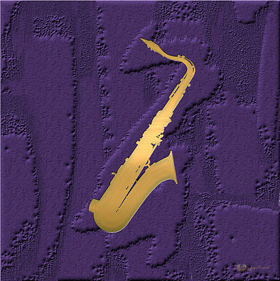 Artwork Wall Art - Photograph - Gold Embossed Saxophone On Purple  by Serge Averbukh