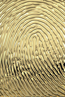 Digital Art - Gold Fingerprint Set Of Four - 3 Of 4 by Serge Averbukh