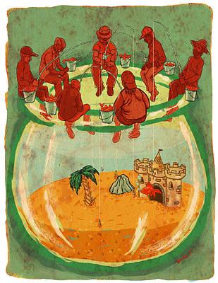 Gold Fish Art Print by Baird Hoffmire