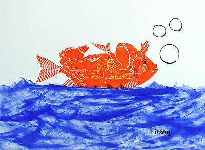 Hand Thrown Pottery Painting - Gold Fish by International Artist Brent Litsey