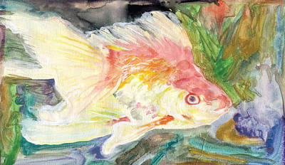 Painting - Gold Fish With Purple by Dan McGibbon