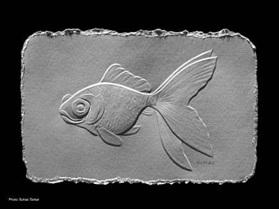 Art Print featuring the relief Gold Fish1a by Suhas Tavkar