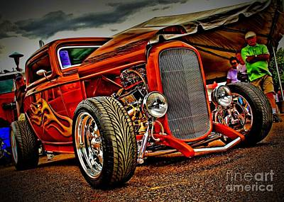 Gold Ford Photograph - Gold Flames by Perry Webster