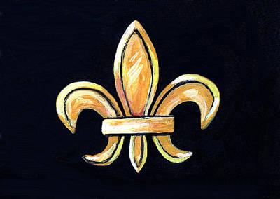 Fleur De Lis Painting - Gold Fleur De Lis On Black by Elaine Hodges