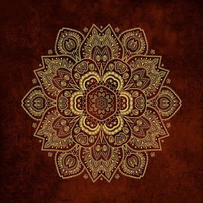 Passover Digital Art - Gold Flower Mandala On Rusty Red Background by Lena Photo Art