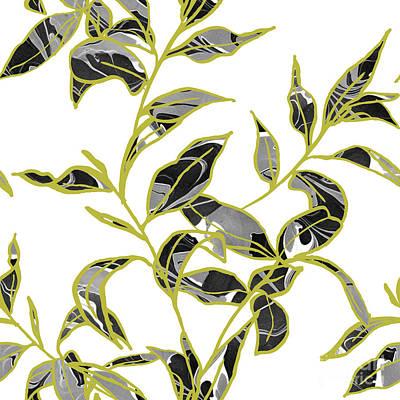 Marble Digital Art - Gold Foliage by Varpu Kronholm