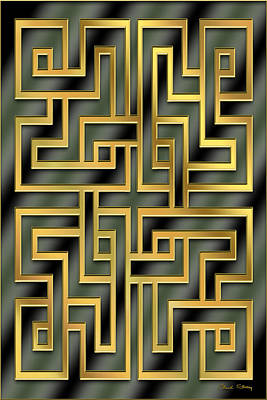 Digital Art - Gold Geo 7 - Vertical  by Chuck Staley