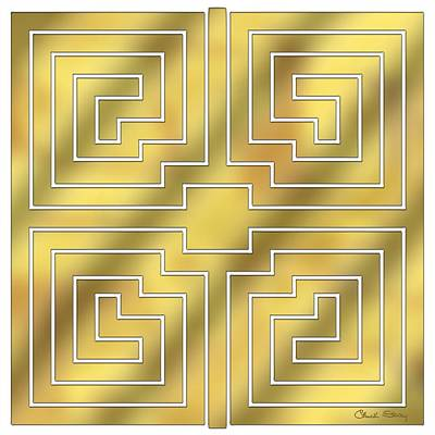 Handcrafted Digital Art - Gold Geo 4 - Chuck Staley Design  by Chuck Staley