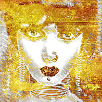Glitter Painting - Gold Girl by Mindy Sommers