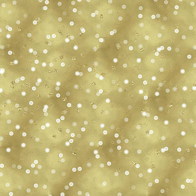 Digital Art - Gold Glam Confetti Dots by P S