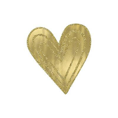 Photograph - Gold Glam Heart by P S