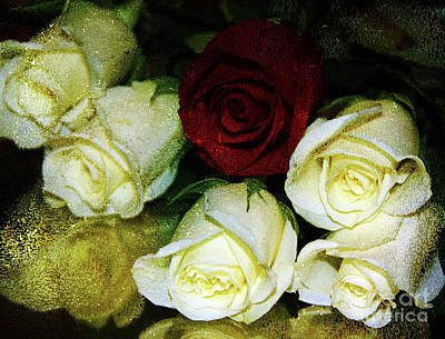 Photograph - Gold Glitter Roses by Inspirational Photo Creations Audrey Woods