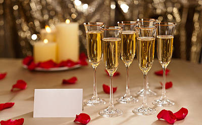 Photograph - Gold Glitter Wedding Reception Setting With Champagne by U Schade