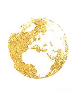 World Map Poster Photograph - Gold Globe by Jennifer Mecca