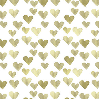 Digital Art - Gold Hearts by P S
