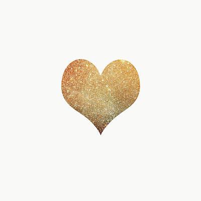 Carter Digital Art - Gold Heart by Suzanne Carter