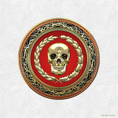Digital Art - Gold Human Skull Over White Leather  by Serge Averbukh