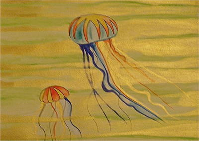 Gold Jellies Art Print by Erika Swartzkopf