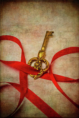Photograph - Gold Key With Red Ribbon by Garry Gay