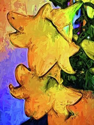 Digital Art - Gold Lilies In A Terracotta Pot by Jackie VanO