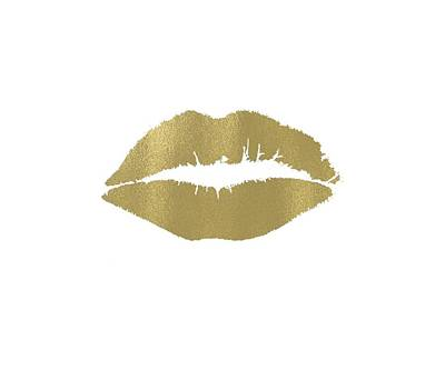 Digital Art - Gold Lips Kiss by P S