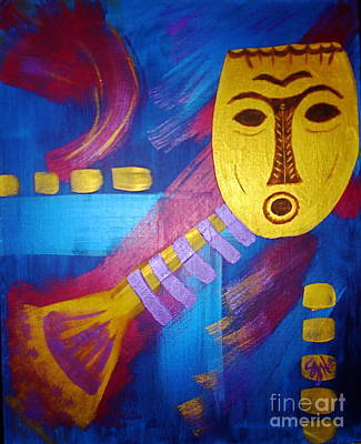 Painting - Gold Mask On Blue by Sheila J Hall